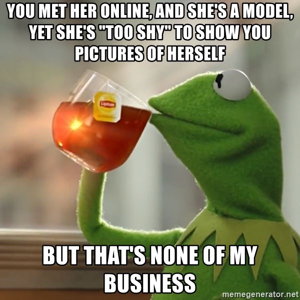 """Kermit The Frog Drinking Tea - You met her online, and she's a model, yet she's """"too shy"""" to show you pictures of herself But that's none of my business"""