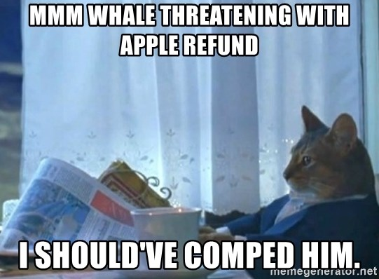 newspaper cat realization - mmm Whale threatening with apple Refund I should've comped him.