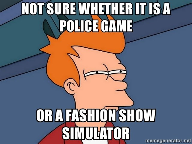 Futurama Fry - not sure whether it is a police game or a fashion show simulator