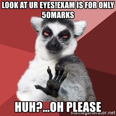 Chill Out Lemur - Look at ur eyes!Exam is for only 50marks Huh?...Oh please