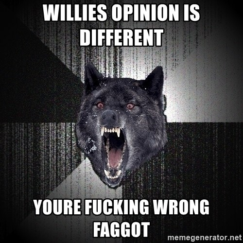 Insanity Wolf - willies opinion is different youre fucking wrong faggot