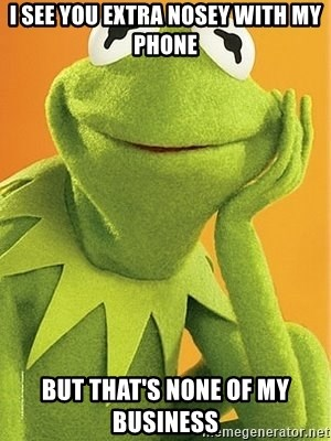 Kermit the frog - I see you extra nosey with my phone But that's none of my business