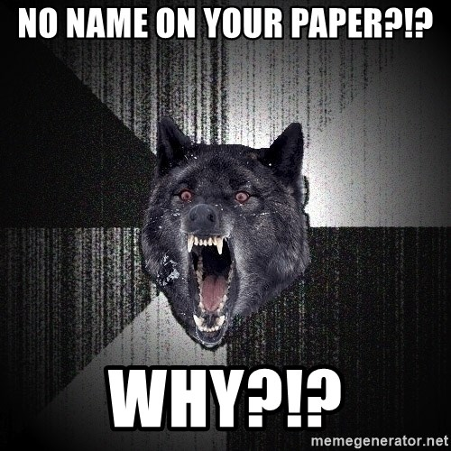 Insanity Wolf - No name on your paper?!? Why?!?