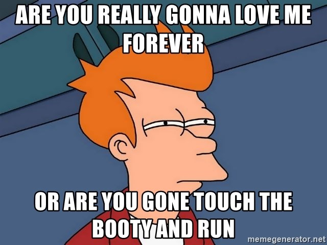 Futurama Fry - Are you really gonna love me forever Or are you gone touch the booty and run