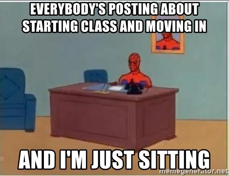 Spiderman Desk - Everybody's posting about starting class and moving in And I'm just sitting