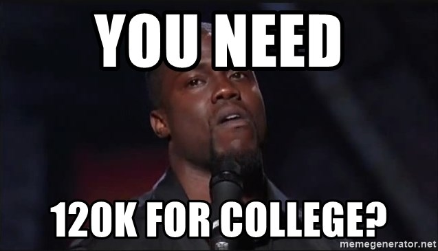 Kevin Hart Face - you need 120k for college?