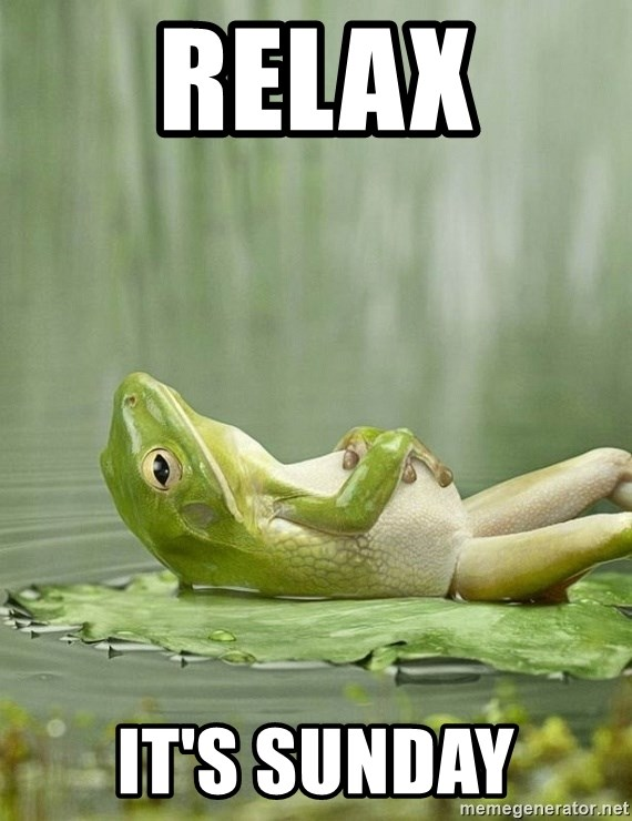 Relax Its Sunday Frog Relaxing Meme Generator