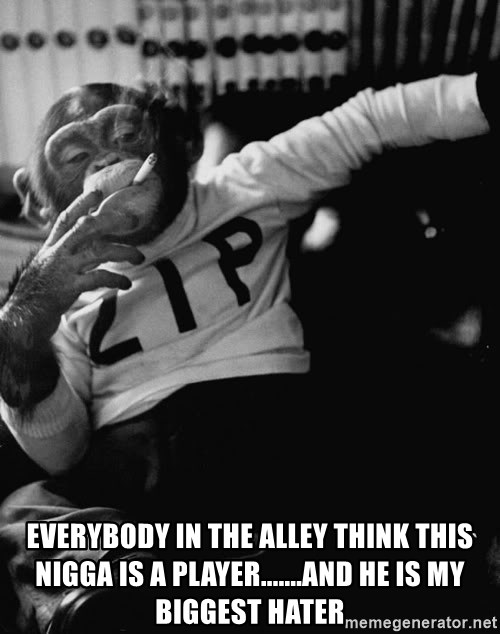 SMOKING MONKEY - Everybody in the Alley think this nigga is a player.......and he is my biggest hater
