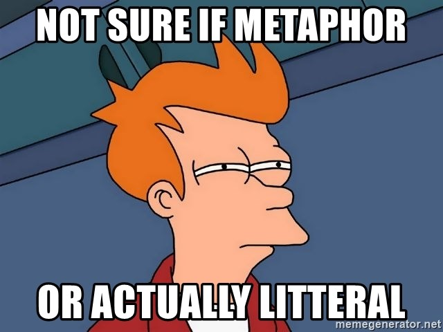Futurama Fry - Not sure if metaphor or actually litteral