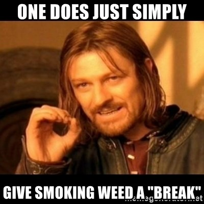 """Does not simply walk into mordor Boromir  - one does just simply give smoking weed a """"break"""""""