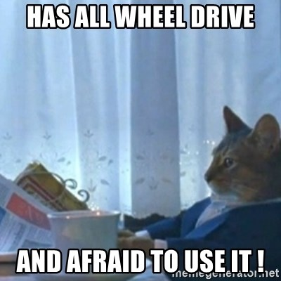 Sophisticated Cat Meme - Has all wheel drive And afraid to use it !