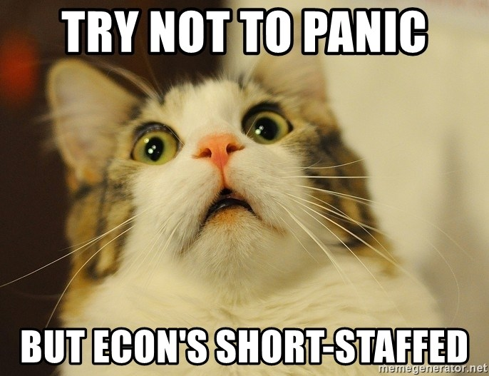 panic cat face - try not to panic but econ's short-staffed