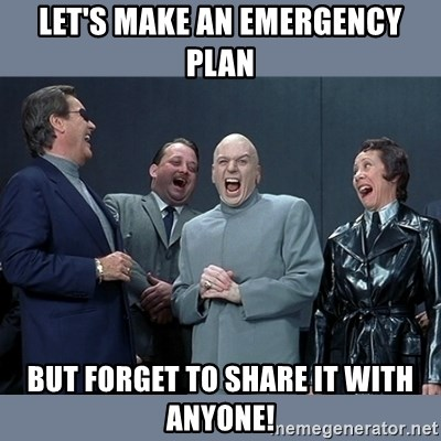 Dr. Evil and His Minions - Let's make an emergency plan but forget to share it with anyone!