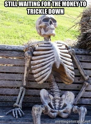Waiting Skeleton - STILL WAITING FOR THE MONEY TO TRICKLE DOWN