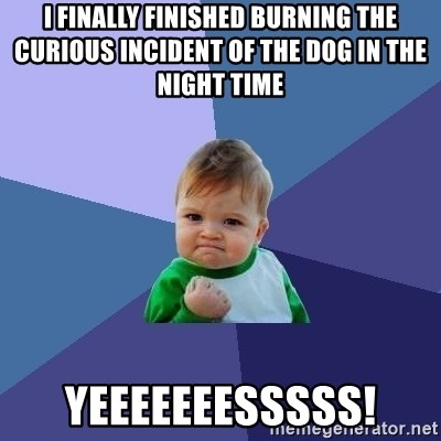 I FINALLY FINISHED BURNING THE CURIOUS INCIDENT OF THE DOG