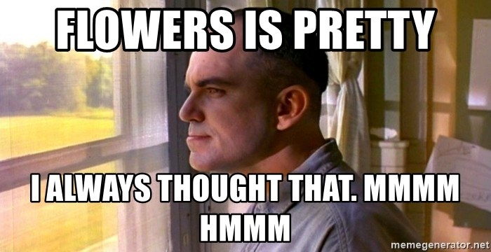 54428640 flowers is pretty i always thought that mmmm hmmm sling blade