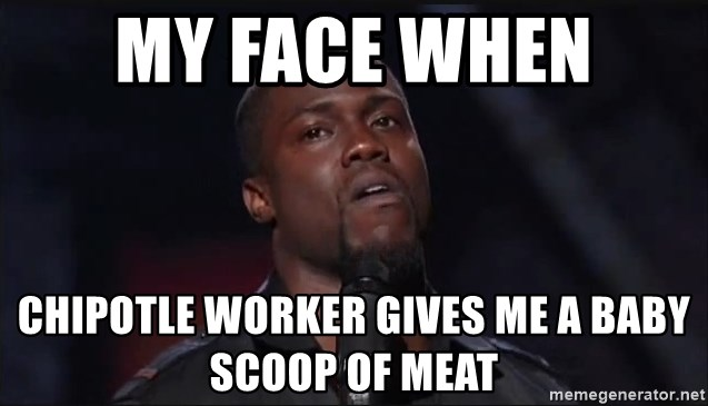 Kevin Hart Face - My face when  Chipotle worker gives me a baby scoop of meat