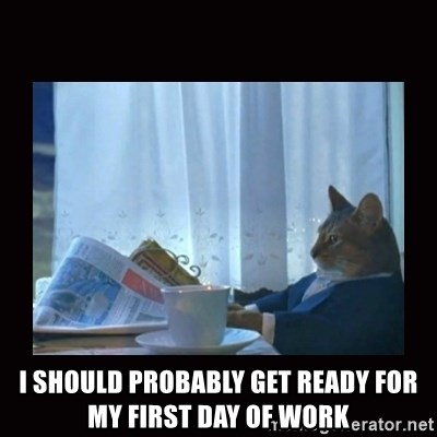 i should buy a boat cat - i should probably get ready for my first day of work