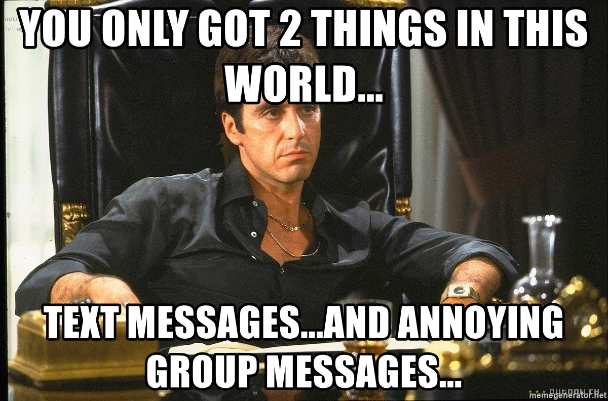Scarface - you only got 2 things in this world... text messages...and annoying group messages...
