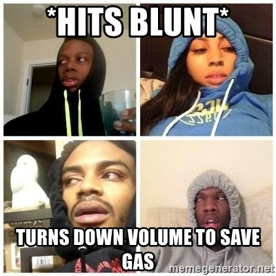 Hits Blunts - *HITS BLUNT* Turns down volume to save gas