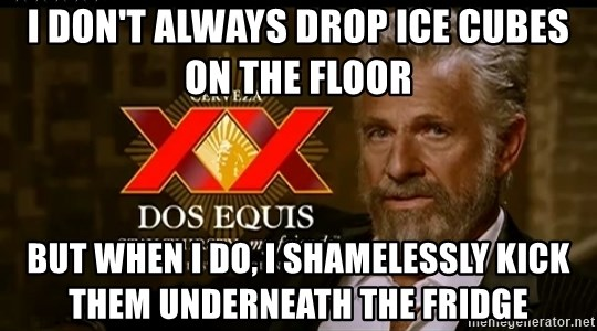 Dos Equis Man - I don't always drop ice cubes on the floor but when I do, I shamelessly kick them underneath the fridge