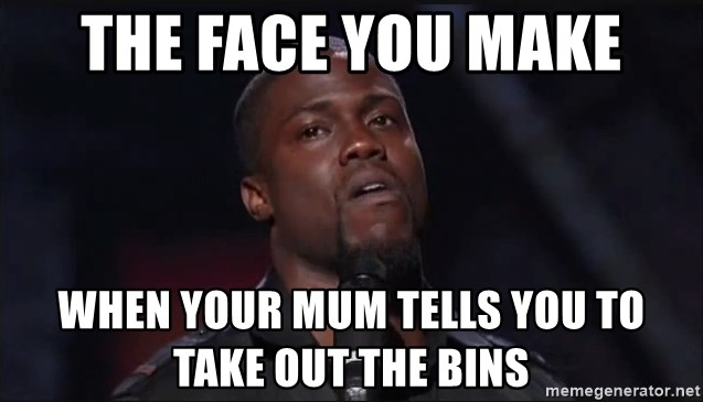 Kevin Hart Face - tHE FACE YOU MAKE WHEN YOUR MUM TELLS YOU TO TAKE OUT THE BINS