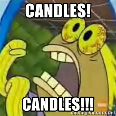 spongebob chocolate guy - candles! candles!!!