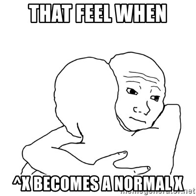 I know that feel bro blank - That Feel when ^x becomes a normal X
