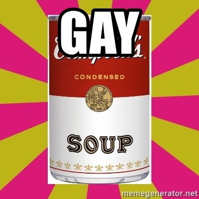 College Campbells Soup Can - gay