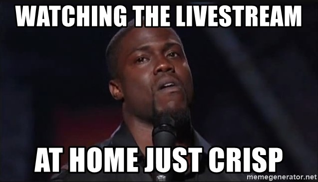 Kevin Hart Face - watching the livestream at home just CRISP