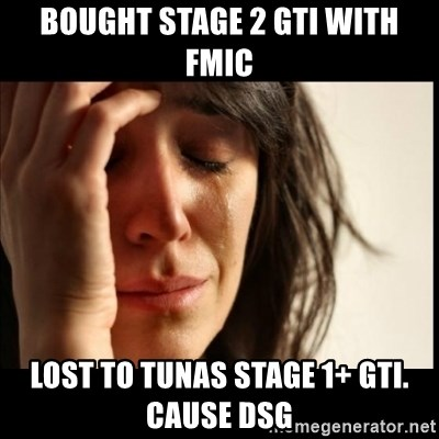 Bought Stage 2 Gti With Fmic Lost To Tunas Stage 1 Gti Cause Dsg First World Problems Meme Generator
