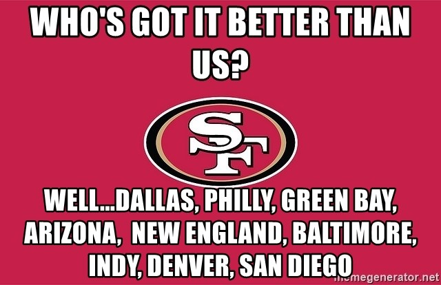 Who's got it better than us? Well   Dallas, Philly, Green