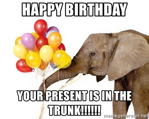 PARTY ELEPHANT - happy birthday your present is in the trunk!!!!!!