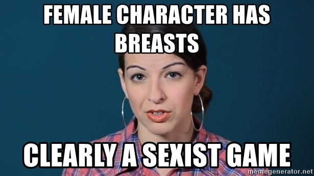 anita sarkeesian - Female character has breasts Clearly a sexist game