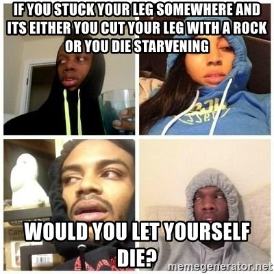 Hits Blunts - if you stuck your leg somewhere and its either you cut your leg with a rock or you die starvening would you let yourself die?