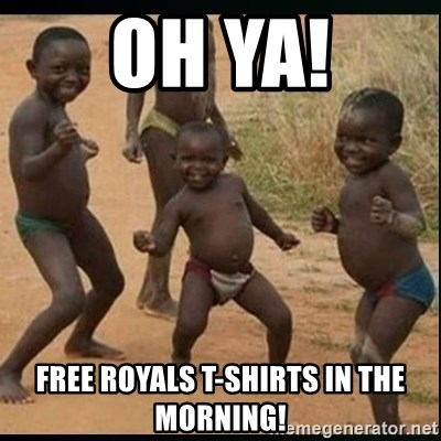 Dancing black kid - Oh ya! Free Royals t-shirts in the morning!