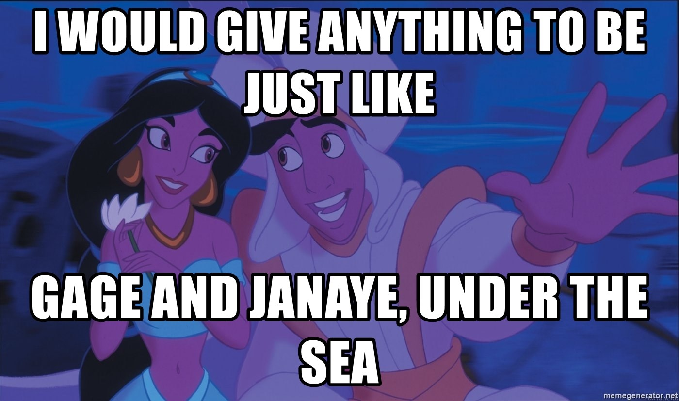 Aladdin and Jasmine - I would give anything to be just like Gage and Janaye, under the sea