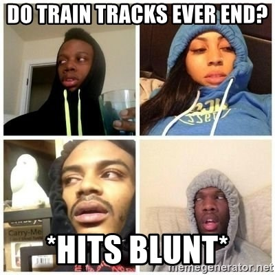 Hits Blunts - do train tracks ever end? *Hits Blunt*