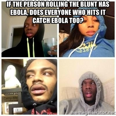 Hits Blunts - if the person rolling the blunt has ebola, does everyone who hits it catch ebola too?