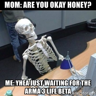 Mom: Are you okay Honey? Me: Yhea just waiting for the Arma