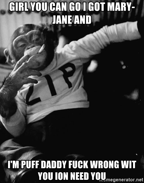 SMOKING MONKEY - girl you can go i got mary-jane and I'm puff daddy fuck wrong wit you ion need you