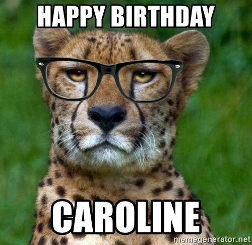 Happy Birthday Caroline Hipster Cheetah Meme Generator