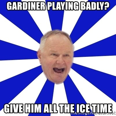 Crafty Randy - Gardiner playing badly? give him all the ice time