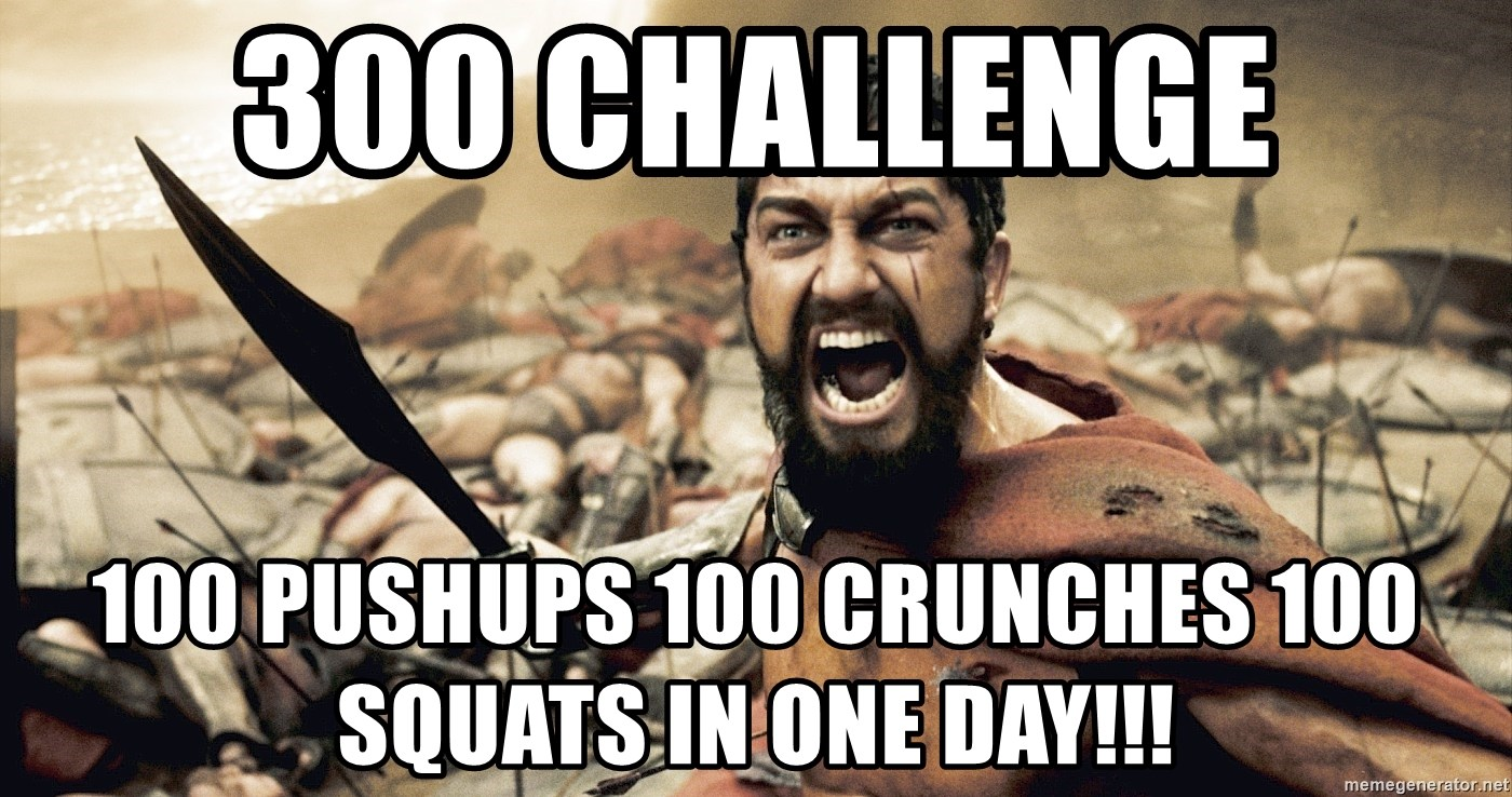 300 CHALLENGE 100 Pushups 100 Crunches 100 Squats in One Day