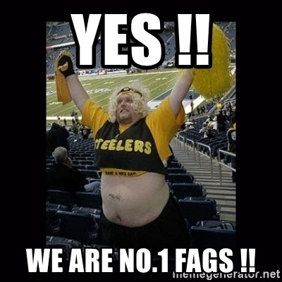 Dumb Steelers Fan - Yes !! We are no.1 Fags !!