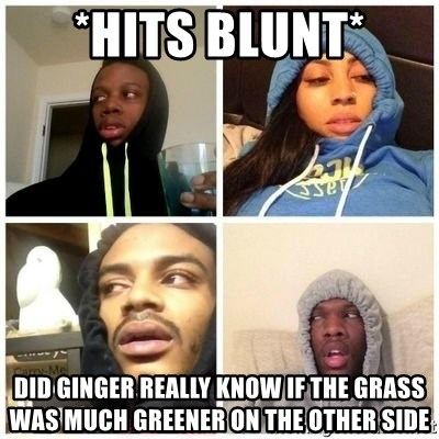 Hits Blunts - *hits blunt* Did Ginger really KNOW if the grass was much greener on the other side