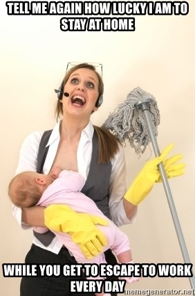 Stressed Out Mom - Tell me again how lucky I am to stay at home while you get to escape to work every day