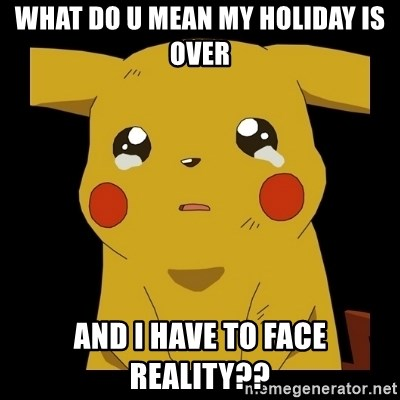 Pikachu crying - what do u mean my holiday is over and I have to face reality??