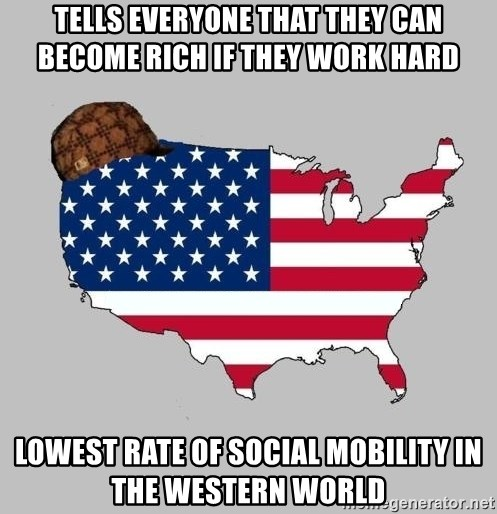 Scumbag America2 - tells everyone that they can become rich if they work hard lowest rate of social mobility in the western world