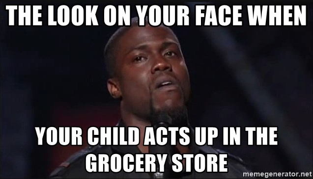 Kevin Hart Face - The look on your face when your child acts up in the grocery store